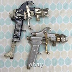 Vintage Binks Devilbiss Lot 4 Spray Guns Paint Sprayers + Accessoires & Jauges