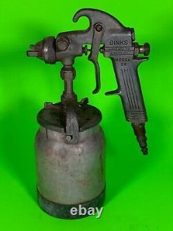 Vintage Binks Model 29 Spray Peinture Pistolet Et Conteneur Pulvérisateur Chicago IL Nice