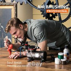 Vivohome Double-action Paint Spray Air Brush Tattoo Nail 3 Airbrush Compresseur Kit